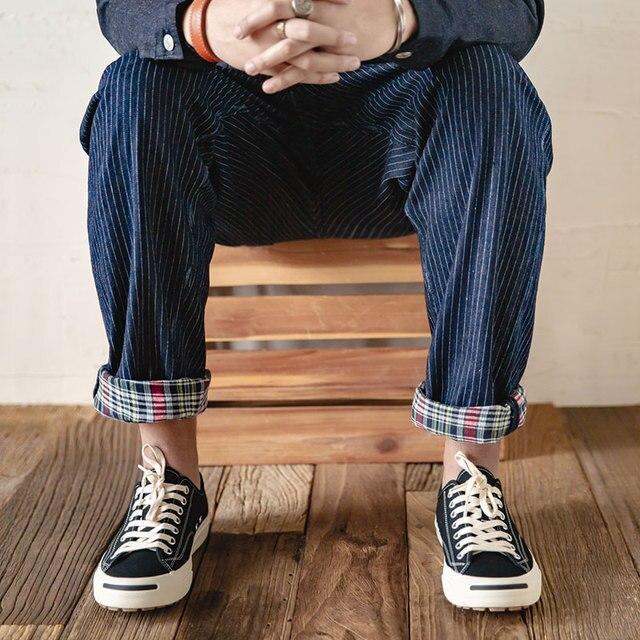 Maden Men's Retro Casual Blue Striped Pants Scottish plaid hem Regular Straight Fit Denim Work Pants With Detachable Suspenders 5