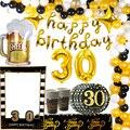 30s Geburtstag Dekoration Beifall zu 30 Jahre Banner Big Dreißig 40 Ballon Konfetti Schwarz Gold Ballon Glücklich 30 Anzahl bälle Globos