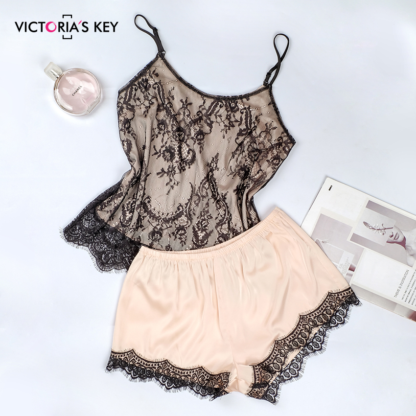 VICTORIA'S KEY Sexy Khaki Mesh Pajama Sets Female V Neck Sleeveless Satin Top Cami Lace Shorts PJ Set Autumn Sleepwear Women