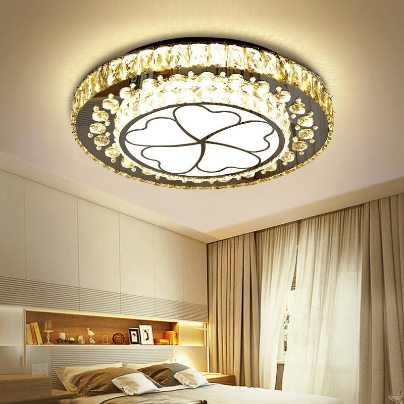 Circle Ceiling LED Warm Bedroom Crystal Ceiling Lamp Minimalist Modern Book Room Lighting