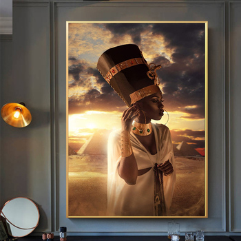 Fashion Gold Crown Black African Woman Oil Painting on Canvas Posters and Prints Decoracion Wall Art picture Living Room Decor image