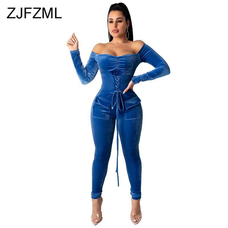 Off Shoulder Lace Up Sexy Velvet Bodysuit Women Long Sleeve Open Back Solid Bodycon Jumpsuits Elegant Bandage One Piece Romper