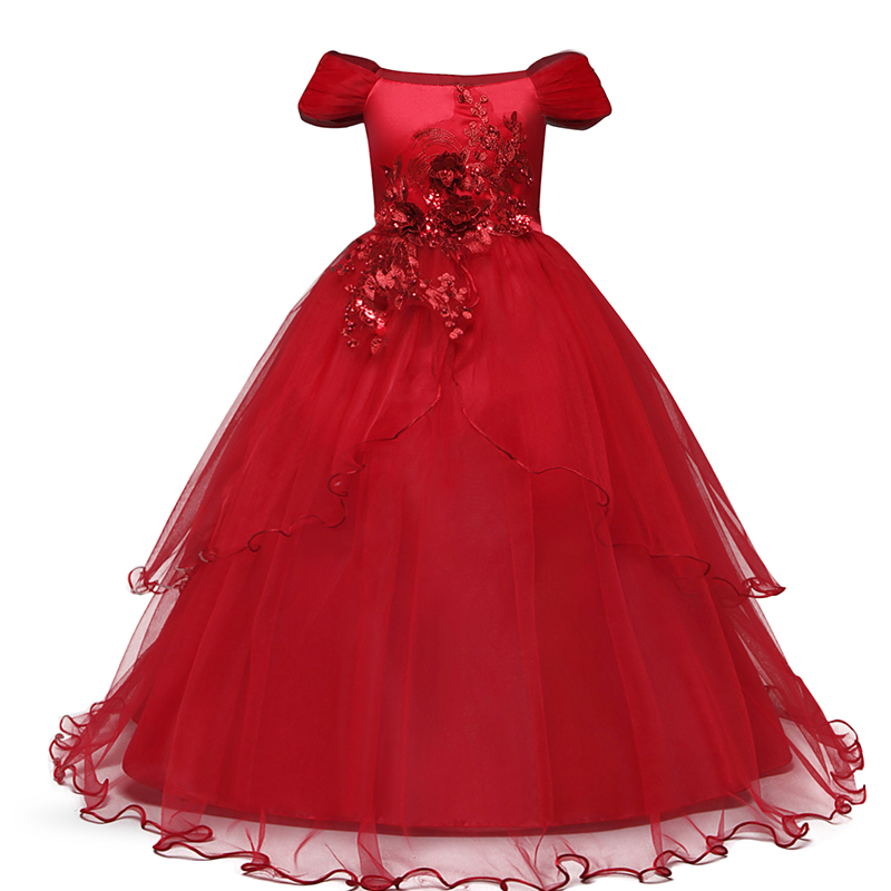 H4d6d81319481491aa55fe74c5935803cH Vintage Flower Girls Dress for Wedding Evening Children Princess Party Pageant Long Gown Kids Dresses for Girls Formal Clothes