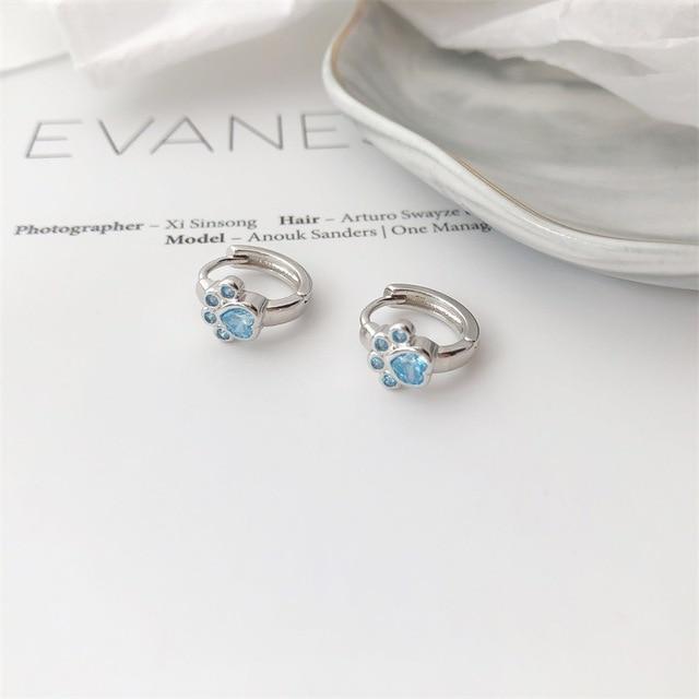 Dog Silver Blue Paw Earrings 4