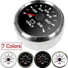Универсальный 2 ''52 мм вольтметр автомобильный 12 в часы авто мотоцикл лодка 8-16 в 16-32 В с 7 цветами подсветка painel цифровой