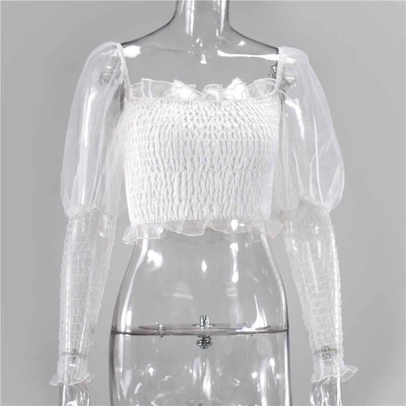Newasia jardim branco blusa feminina 2020 primavera gola quadrada rufplus manga longa ruched malha topos sexy ver através camisa casual