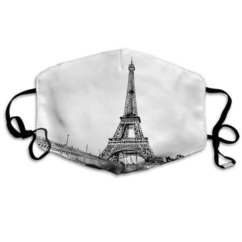 Swono Mask Eiffel Tower,Vintage French Paris Tower Cityscape Art Design Polyester Anti Dust Face Mask-Washable and