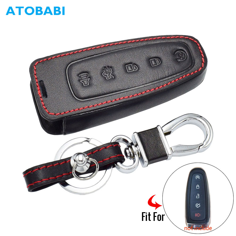 Leather Car Key Case For Ford C-Max Edge Escape Explorer Flex Focus Lincoln MKS MKT MKX 5 BTN Smart Remote Fob Protector Cover