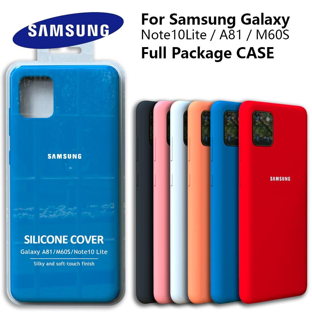 Galaxy note10lite caso original samsung a81 capa de silicone de seda de alta qualidade macio-toque de volta protetora galaxy m60s note10 lite