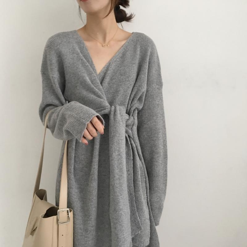 H4d6ddd1009e14666b5202536fc92f3b6o - Winter Korean V-Neck Long Sleeves Knitted Dress