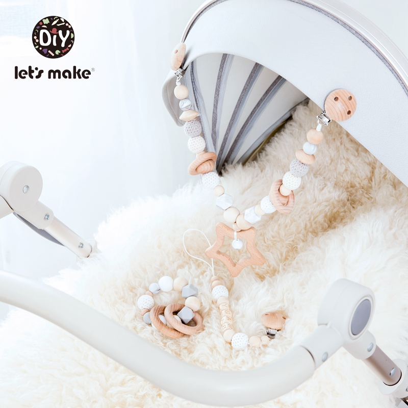 Let's Make Baby Rattle Pacifier Chain Pacifier Clip Bracelet Wooden Ring BPA Free Star Three-piece Suit Wooden Rattles Bed Bell