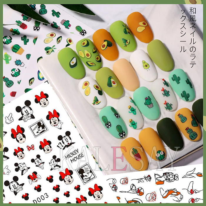 Avocado Strawberry Nail Stickers Art Decals Back Glue Sticker For Design Manicure Decorations Sticker For Nails Berries Flower