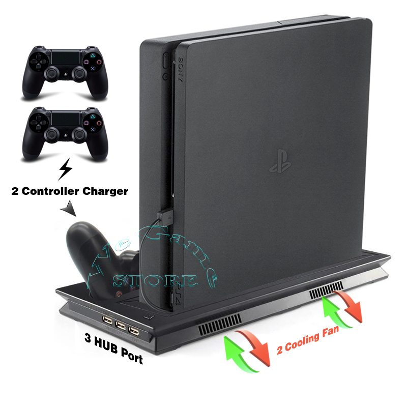 PS4 Slim Console Vertical Stand Support with Cooler Cooling Fan Gamepad Charger Dock for Sony Playstation