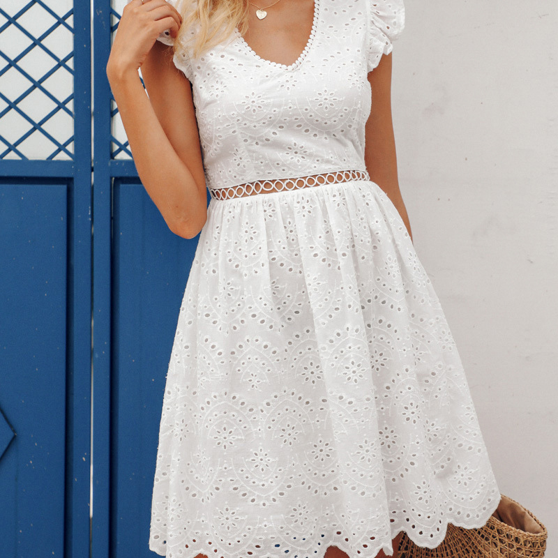 White Women Summer <font><b>Dress</b></font> V Neck Ruffle Cotton <font><b>Lace</b></font> <font><b>Dresses</b></font> Vintage Holiday Beach Short <font><b>Backless</b></font> <font><b>Sexy</b></font> Female Vestidos 021803 image