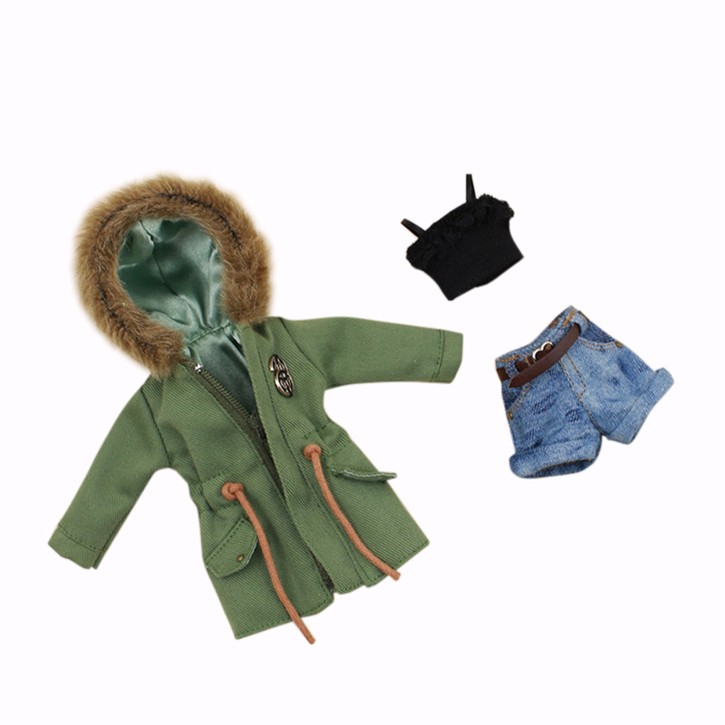 Blyth Clothes Suitable For Joint Doll Green Army Jacket, Denim Shorts, Black Lace Bra Suit
