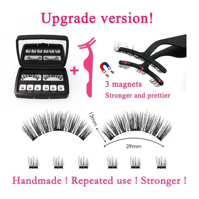 3D/6D False Magnetic Eyelashes Natural Long 25mm Wispy Lashes Strips 3 Magnet Fake Eyelashes Mink Eye Lashes Extension Supplies 3