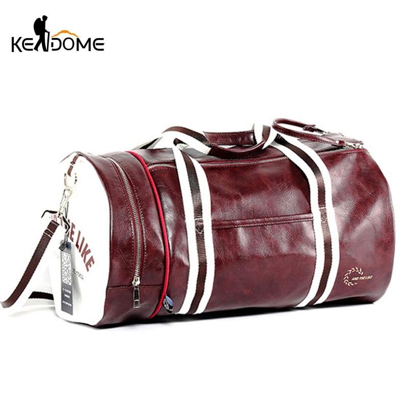 PU Leather Sports Gym Bag Multifunction Training Fitness Shoulder Bags Traveling Handbag Striped Sac De Sport