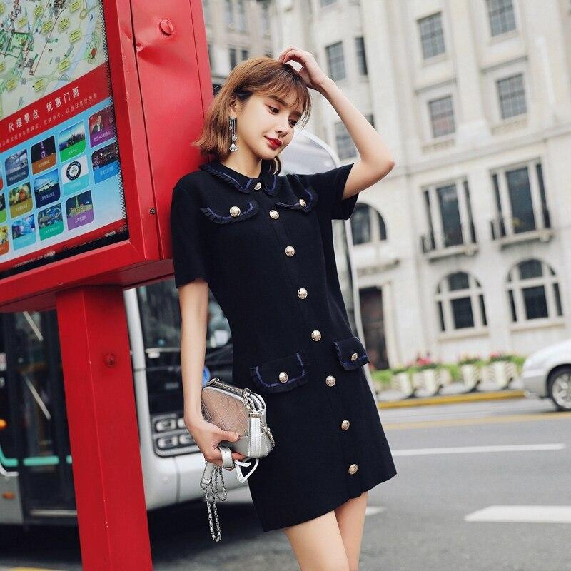 Vintage bouton unique col claudine noir robe à tricoter 2019 nouveau été femmes Streetwear taille haute pull robe trapèze - 2