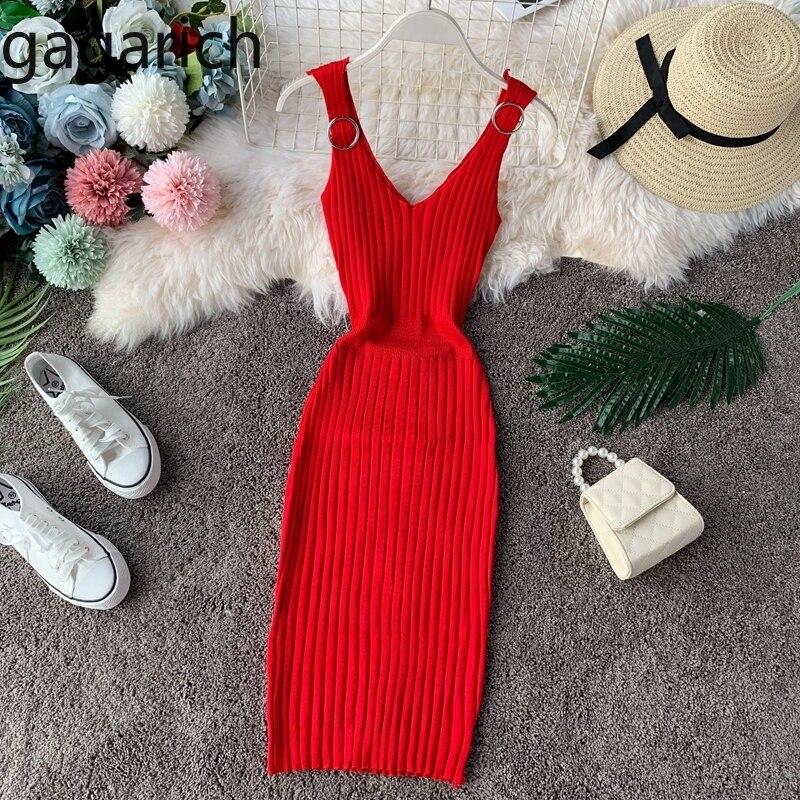 Gagarich Women Dress 2019 Sexy V-neck Knitted Solid Stretch Bodycon Midi Ladies Dresses Summer Fashion Vestidos De Fiesta