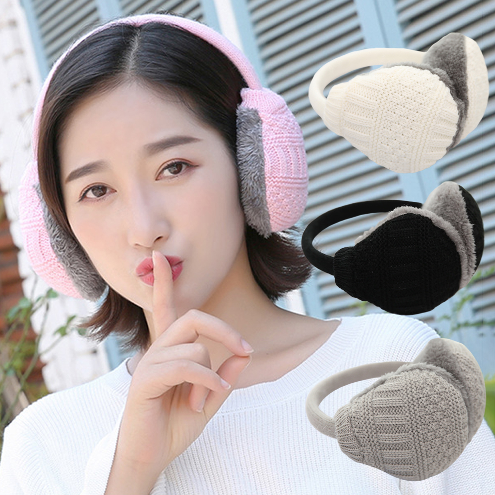 Winter Warm Knitted Earmuffs Removable Washable Plush Earmuffs Ear Warmers Girls Plush Earmuffs For Ladies Women Men 30E