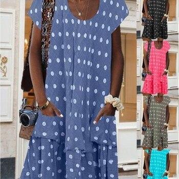 Plus size loose casual women's dress 2020 summer women's dress round neck short sleeve dot printing handbag dress fashionable round neck short sleeve plus size printed dress for women