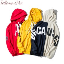 Letter Printed Pullover Hoodies Men/Women Casual Long Sleeve Loose Hooded Streetwear Sweatshirts Hip Hop Harajuku Male Tops Coat 49 hot back ribbon pullover printed sweatshirts men 2018 hip hop spring casual fashion long sleeve swag sweatshirts streetwear