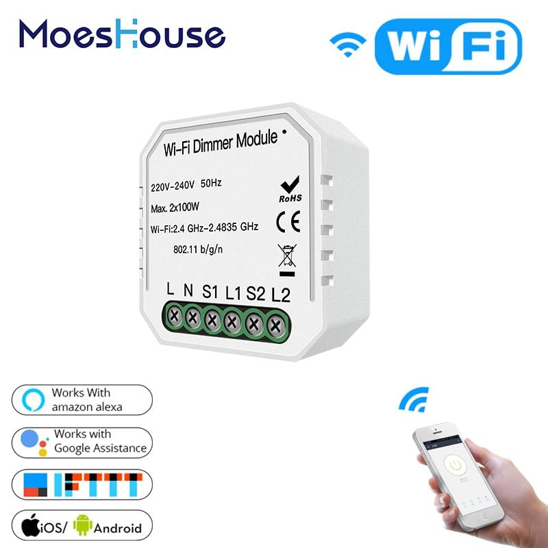 DIY WiFi Smart Light LED Dimmer Switch Smart Life/Tuya APP Wireless Remote Control Module Work With Alexa Google Home 2 Gang