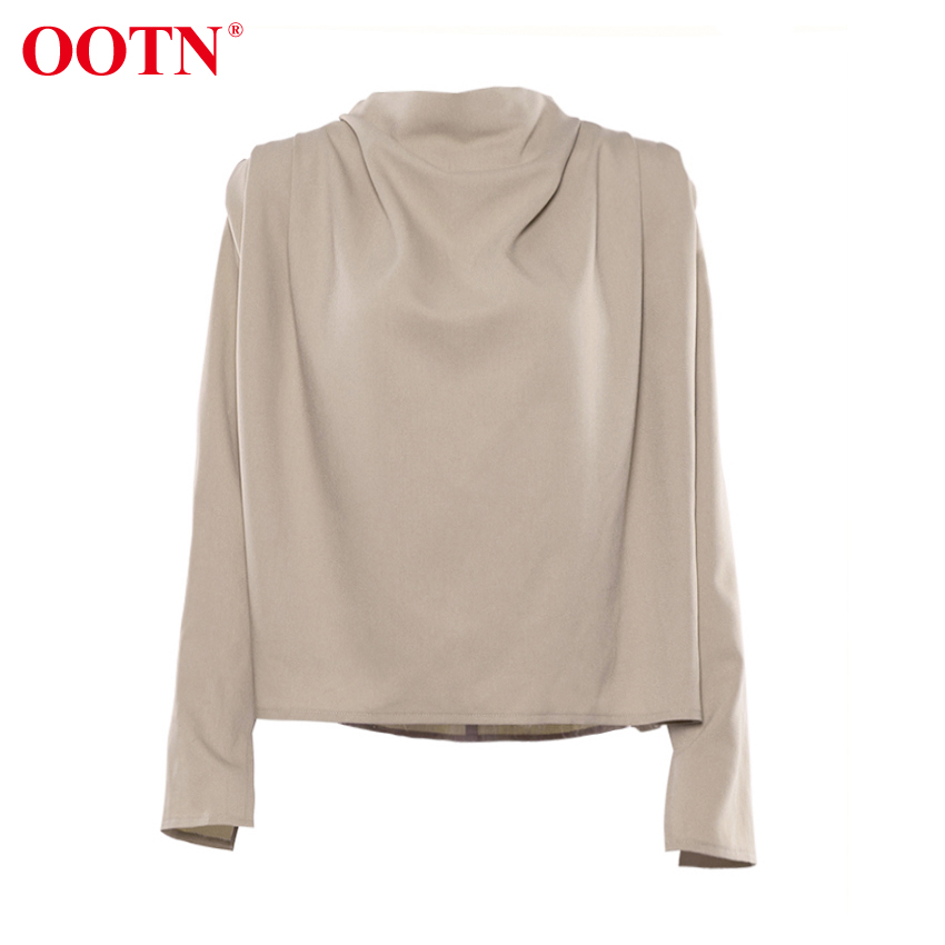 OOTN Draped Collar Womens Tops And Blouses Elegant Long Sleeve Solid Office Blouse Ladies Shirt Casual Top Female Streetwear