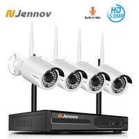 Jennov 4CH H.264 5MP Outdoor Video Surveillance Wireless IP Camera Audio Security WiFi HD Camera System Home CCTV Set NVR Kit