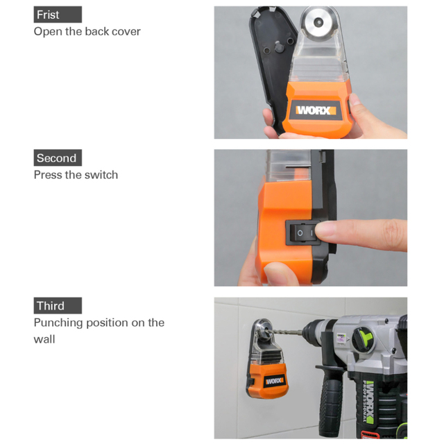 Worx dust box Collector for Cordless drill electric hammer Screwdriver WA1601 Dust removal Universal for diameter less than 10mm 3