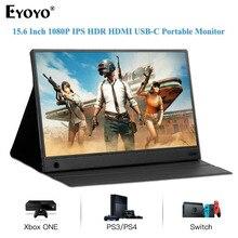 Eyoyo EM15K taşınabilir monitör 15.6 HDR LCD HDMI USB tipi C için IPS ekran PC dizüstü telefon PS4 anahtarı XBOX 1080p oyun monitörü