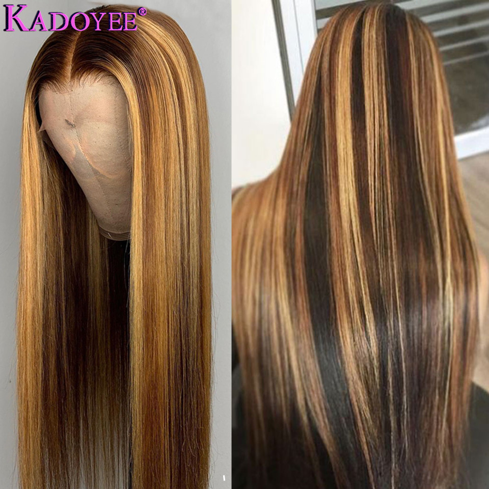 Image 5 - Straight Lace Front Human Hair Wigs Pre Plucked Ombre Honey Blond Highlights Wig Malaysia Remy 13x4 Lace Front Wigs for WomenHuman Hair Lace Wigs   -