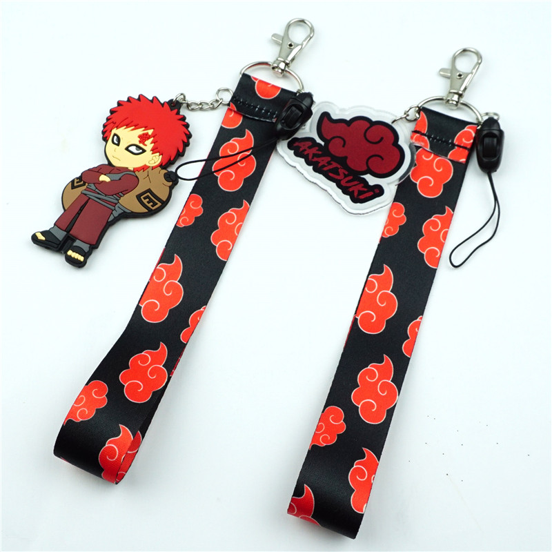 Anime naruto akatsuki telefone móvel portátil curto cordão para chaves telefone cabo cinta de pulso chaveiro saco de escola presente