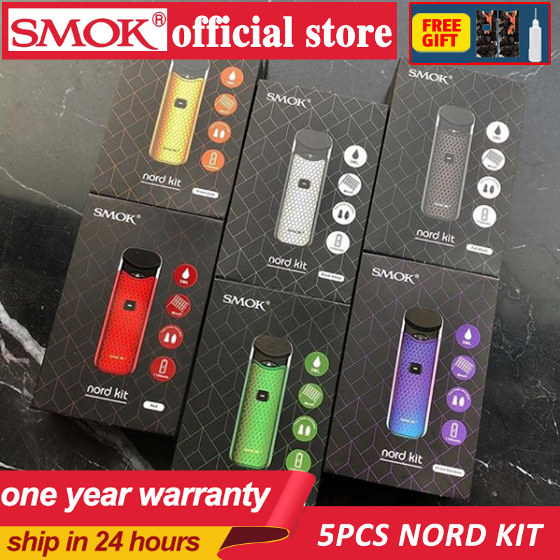 5pc Original SMOK Nord Kit Button triggered Pod Anti Leaking Mini Vape Pen with 1100mAh Battery Pods Coil Accessories portable-in Electronic Cigarette Kits from Consumer Electronics    1