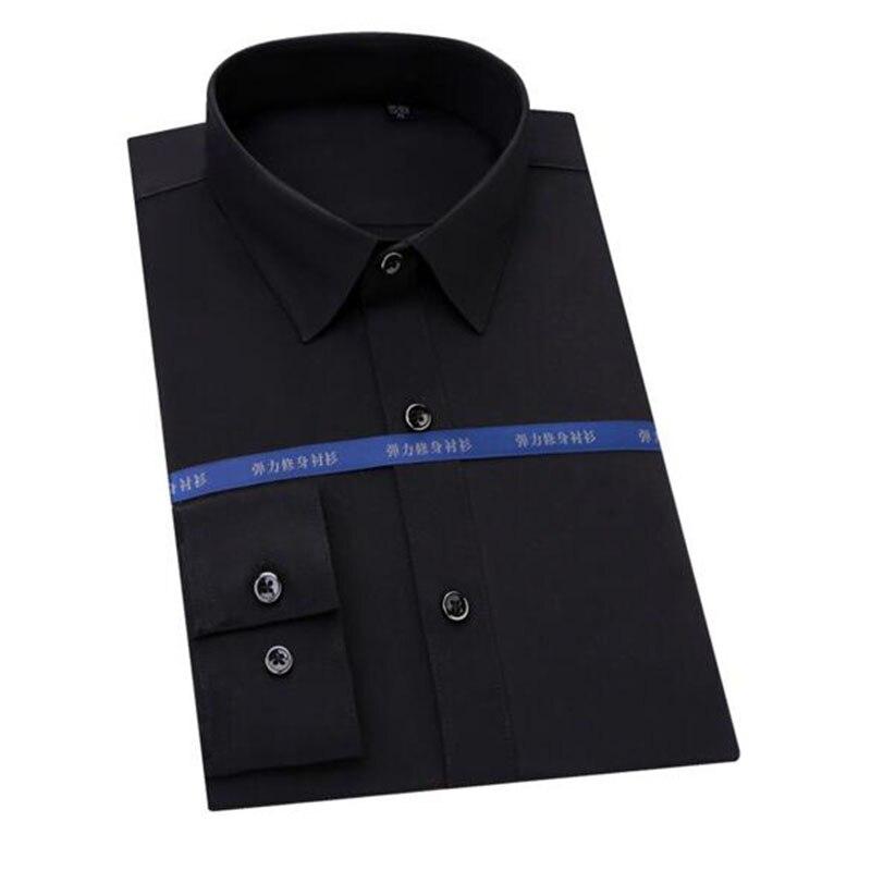 Chemises respirantes douces en Fiber de bambou à manches longues en tissu à bout carré couleur unie