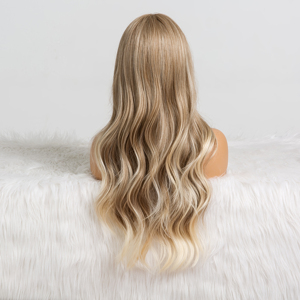 Image 3 - ALAN EATON Long Ombre Light Ash Brown Blonde Wavy Wig Cosplay Party Daily Synthetic Wig for Women High Density Temperature Fibre