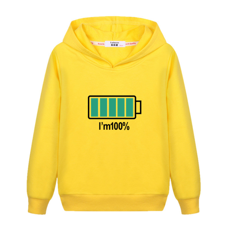 Electricity 100% Design Kids Pullover Long Sleeve Cotton Hoodie Boys Autumn Casual Sweatshirt Girls Energy Spring Clothes Child Jacket 1