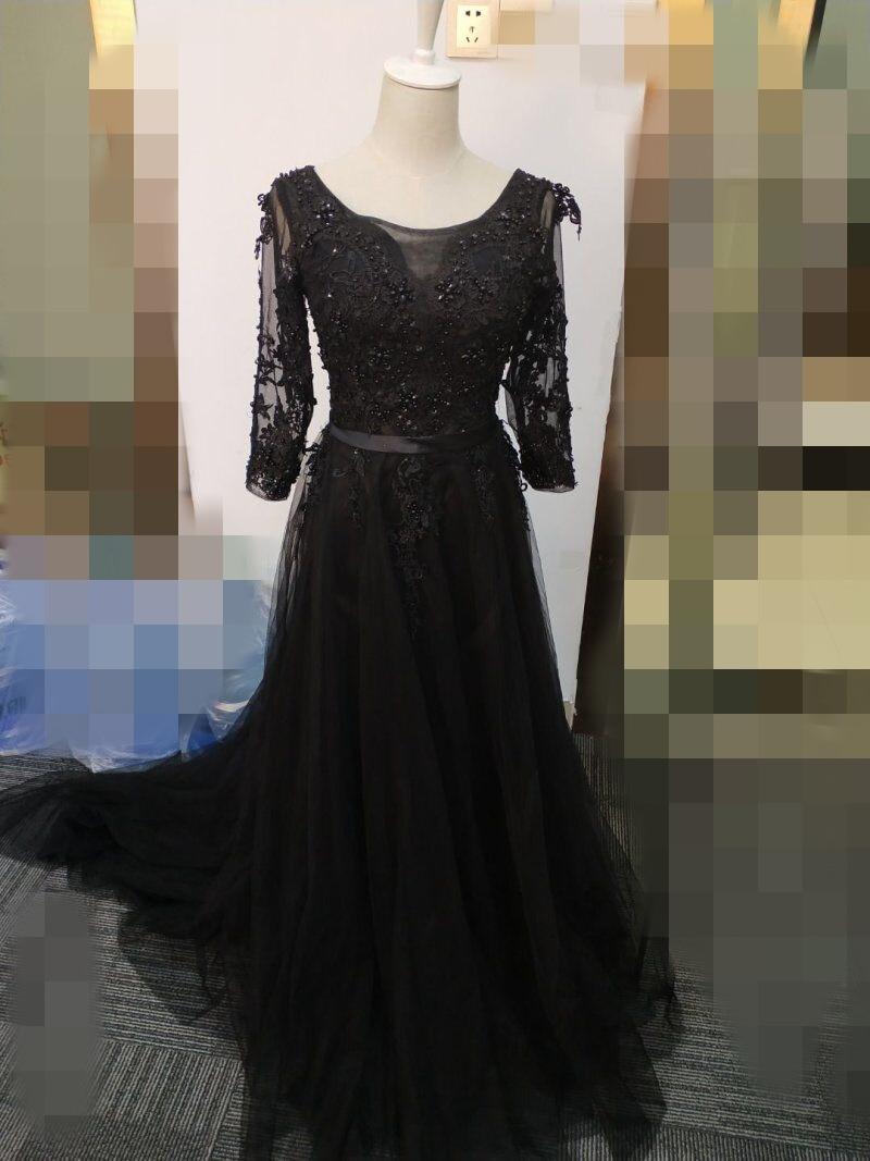 Это Yiiya Новое элегантное вечернее платье в пол с открытой спиной на шнуровке с цветами вечерние платья LX048 - Цвет: Black