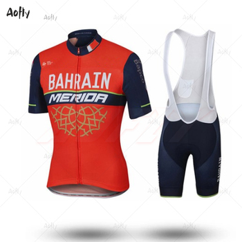 Equipo Bahréin Merida 2019 traje de Ciclismo camisa Ropa bicicleta Jersey conjunto Ciclismo Ropa chaqueta babero pantalones cortos Maillot cómodo Kit top