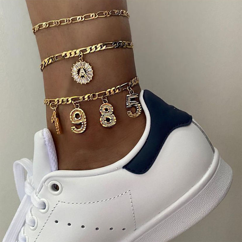 Custom Birth Year Number Anklets For Women Personalized Digital Anklet Stainless Steel Gold Foot Chains Birthday Jewelry Gift