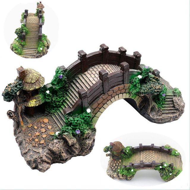 Aquarium Fish Tank Vintage Decorative Bridge Landscape Ornaments Pavilion Tree Plants Resin Design Pet Supplies Home Decorations 5