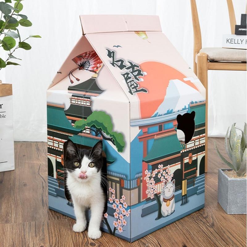 Caixa de leite ondulado casa de gato casa respirar scratcher papelão gatinho cama brinquedos bonito tridimensional casa de gato de estimação suprimentos