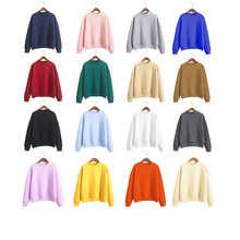 2019 Autumn Winter Clothes women T-shirt Flannel pullover Lover Couple Student shirt Solid Color Long Sleeve