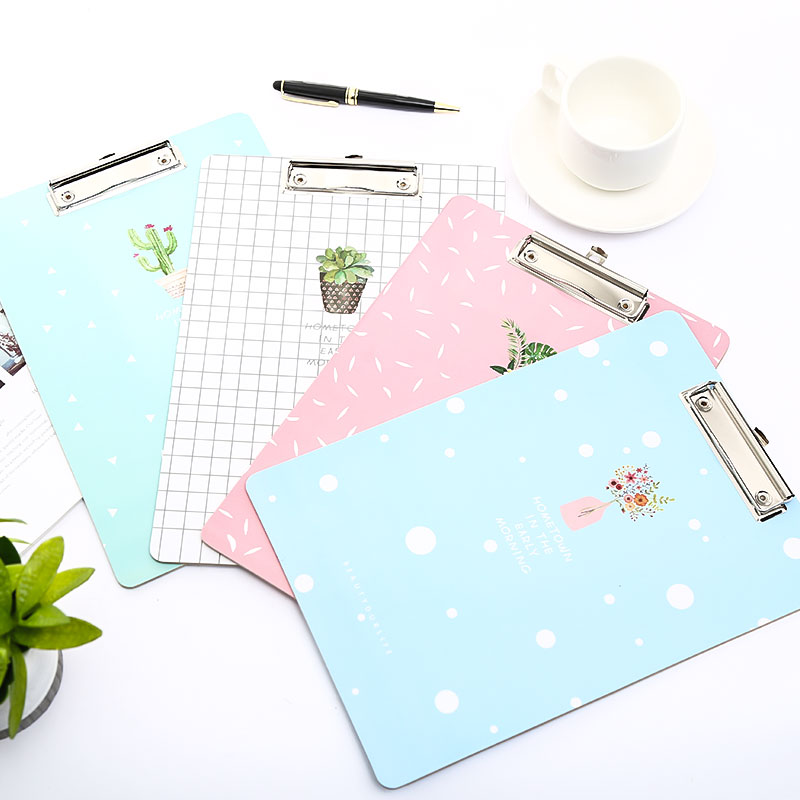 A4 Cute Paper Clipboard Wood Document Folder Pad For Office Supplies Kawaii Writting Exam Clip Board Stationery For School