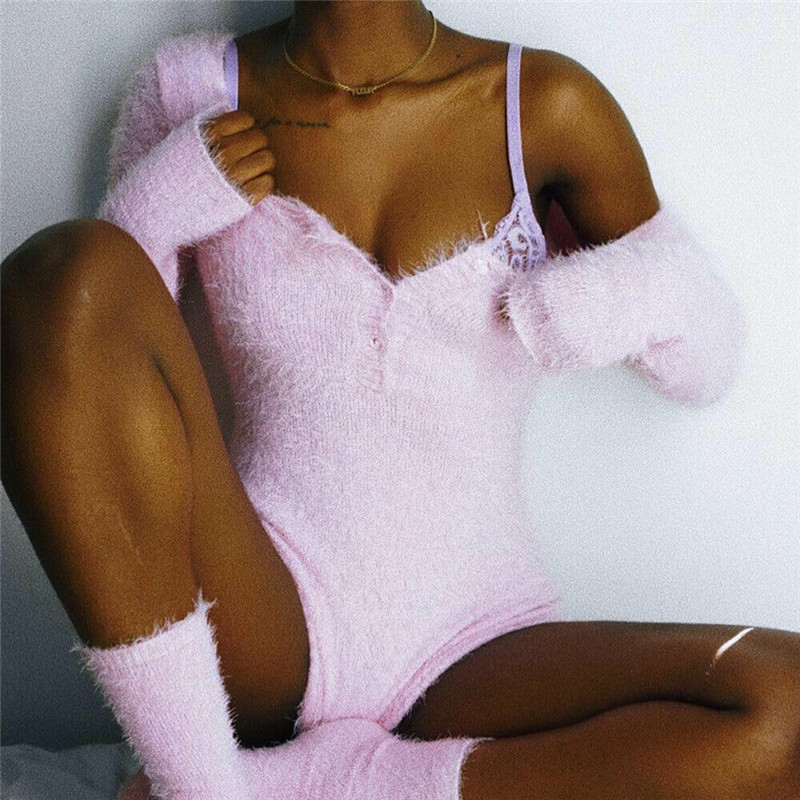 New Trendy Women clothes Knitted solid Deep V-neck long sleeve Jumpsuit Cotton autumn casual Bodysuit one pieces