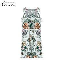 CISULI 100% Silk Crepe Dress Printed Sleeveless Summer Dresses Pure Soie Fabrics Plus Size