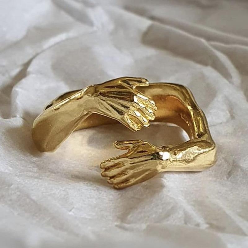 New Romantic Love Hug Carved Hand Rings Creative Love Forever Open Finger Adjustable