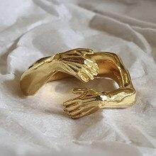 Nuovo romantico amore abbraccio intagliato anelli a mano amore creativo per sempre dito aperto anello regolabile per donna uomo gioielli di moda
