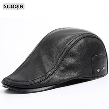 SILOQIN  Men's Winter Genuine Leather Hat Quality First Layer Sheep Skin Berets Adjustable Size Leisure Warm Tongue Cap Snapback