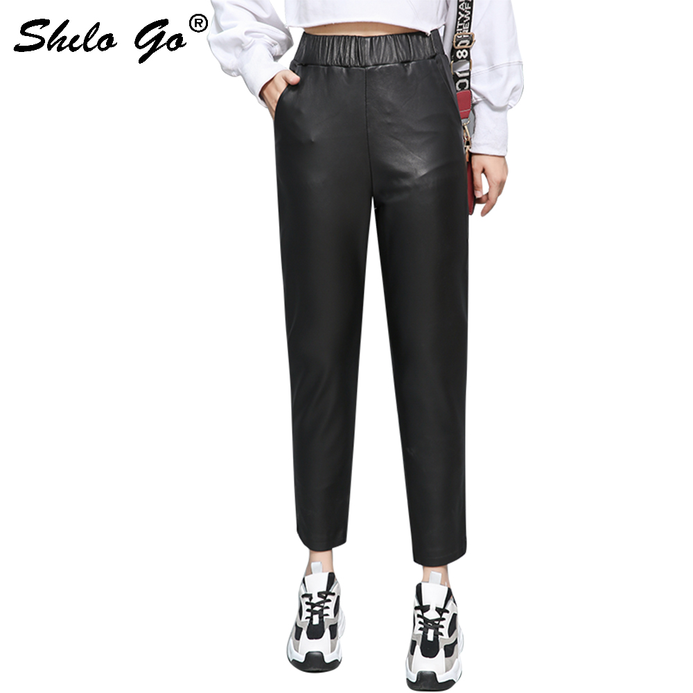 Genuine Leather Pants Minimalist Elastic Waist Black Sheepskin Pencil Pants Women Autumn Winter Casual High Waist Slim Trousers